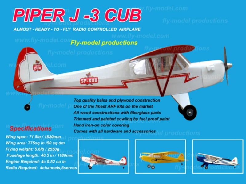Home page :: RC Aircraft :: Scale Planes :: FLYMODEL PIPER J3 CUP 46  wingspan:1820mm